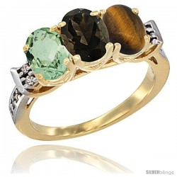 10K Yellow Gold Natural Green Amethyst, Smoky Topaz & Tiger Eye Ring 3-Stone Oval 7x5 mm Diamond Accent