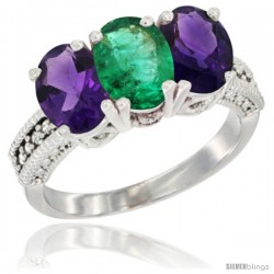 14K White Gold Natural Emerald & Amethyst Ring 3-Stone 7x5 mm Oval Diamond Accent