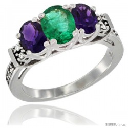 14K White Gold Natural Emerald & Amethyst Ring 3-Stone Oval with Diamond Accent