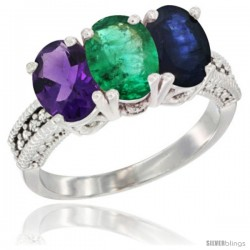 14K White Gold Natural Amethyst, Emerald & Blue Sapphire Ring 3-Stone 7x5 mm Oval Diamond Accent