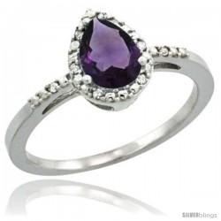 14k White Gold Diamond Amethyst Ring 0.59 ct Tear Drop 7x5 Stone 3/8 in wide