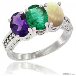 14K White Gold Natural Amethyst, Emerald & Opal Ring 3-Stone 7x5 mm Oval Diamond Accent