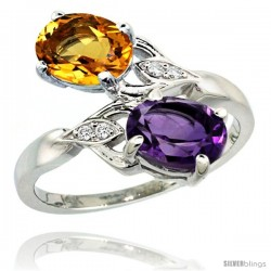 14k White Gold ( 8x6 mm ) Double Stone Engagement Amethyst & Citrine Ring w/ 0.04 Carat Brilliant Cut Diamonds & 2.34 Carats