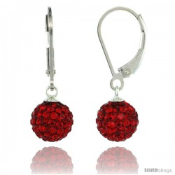 Sterling Silver 8mm Round Red Disco Crystal Ball Lever Back Earrings, 1 in. (25 mm) tall