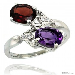 14k White Gold ( 8x6 mm ) Double Stone Engagement Amethyst & Garnet Ring w/ 0.04 Carat Brilliant Cut Diamonds & 2.34 Carats