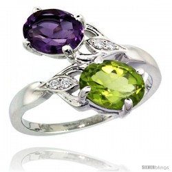 14k White Gold ( 8x6 mm ) Double Stone Engagement Amethyst & Peridot Ring w/ 0.04 Carat Brilliant Cut Diamonds & 2.34 Carats