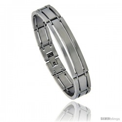 Stainless Steel Satin Finish Striped ID Bar Bracelet, 1/2 in wide, 7.75 in