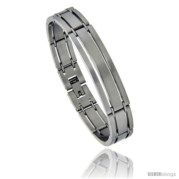 https://www.silverblings.com/874-thickbox_default/stainless-steel-satin-finish-striped-id-bar-bracelet-1-2-in-wide-7-75-in.jpg