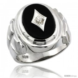Sterling Silver Gent's Black Onyx Ring Diamond Center Oval Shape Rhodium Finish -Style Rdia803
