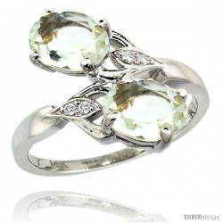 14k White Gold ( 8x6 mm ) Double Stone Engagement Green Amethyst Ring w/ 0.04 Carat Brilliant Cut Diamonds & 2.34 Carats Oval