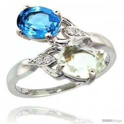 14k White Gold ( 8x6 mm ) Double Stone Engagement Green Amethyst & Swiss Blue Topaz Ring w/ 0.04 Carat Brilliant Cut Diamonds