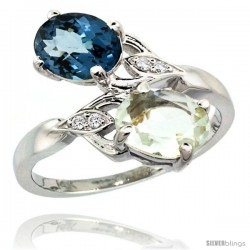 14k White Gold ( 8x6 mm ) Double Stone Engagement Green Amethyst & London Blue Topaz Ring w/ 0.04 Carat Brilliant Cut Diamonds