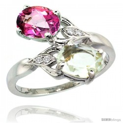 14k White Gold ( 8x6 mm ) Double Stone Engagement Green Amethyst & Pink Topaz Ring w/ 0.04 Carat Brilliant Cut Diamonds & 2.34