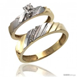14k Gold 2-Pc Diamond Ring Set (4mm Engagement Ring & 5mm Man's Wedding Band), w/ 0.056 Carat Brilliant Cut Diamonds