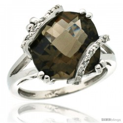 10k White Gold Diamond Smoky Topaz Ring 7.5 ct Cushion Cut 12 mm Stone, 1/2 in wide