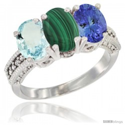 10K White Gold Natural Aquamarine, Malachite & Tanzanite Ring 3-Stone Oval 7x5 mm Diamond Accent