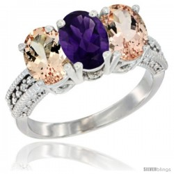 10K White Gold Natural Amethyst & Morganite Sides Ring 3-Stone Oval 7x5 mm Diamond Accent