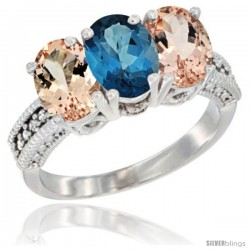 10K White Gold Natural London Blue Topaz & Morganite Sides Ring 3-Stone Oval 7x5 mm Diamond Accent