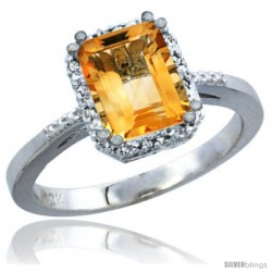 14k White Gold Ladies Natural Citrine Ring Emerald-shape 8x6 Stone Diamond Accent