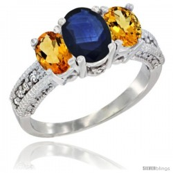 14k White Gold Ladies Oval Natural Blue Sapphire 3-Stone Ring with Citrine Sides Diamond Accent