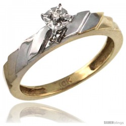 14k Gold Diamond Engagement Ring w/ 0.03 Carat Brilliant Cut Diamonds, 5/32 in. (4mm) wide -Style 14y152er
