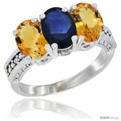 14K White Gold Natural Blue Sapphire & Citrine Sides Ring 3-Stone 7x5 mm Oval Diamond Accent