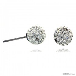 Sterling Silver 8mm Round White Disco Crystal Ball Stud Earrings