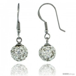 Sterling Silver 8mm Round White Disco Crystal Ball Fish Hook Earrings, 1 1/4 in. (31 mm) tall, 1 1/16 in. (27 mm) tall