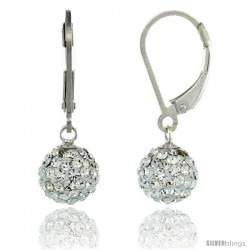 Sterling Silver 8mm Round White Disco Crystal Ball Lever Back Earrings, 1 in. (25 mm) tall