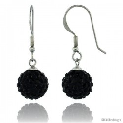 Sterling Silver 10mm Round Black Disco Crystal Ball Fish Hook Earrings, 1 1/4 in. (31 mm) tall