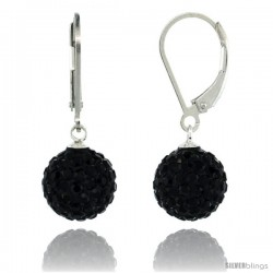 Sterling Silver 10mm Round Black Disco Crystal Ball Lever Back Earrings, 1 1/8 in. (28 mm) tall