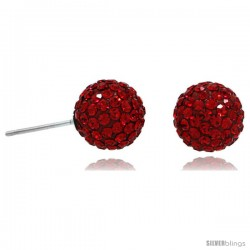 Sterling Silver 10mm Round Red Disco Crystal Ball Stud Earrings