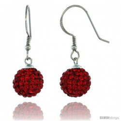 Sterling Silver 10mm Round Red Disco Crystal Ball Fish Hook Earrings, 1 1/4 in. (31 mm) tall