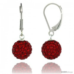 Sterling Silver 10mm Round Red Disco Crystal Ball Lever Back Earrings, 1 1/8 in. (28 mm) tall
