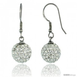 Sterling Silver 10mm Round White Disco Crystal Ball Fish Hook Earrings, 1 1/4 in. (31 mm) tall