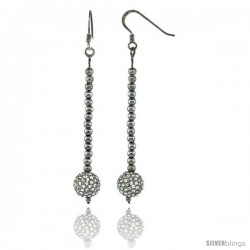 Sterling Silver Crystal Disco Ball Dangle Earrings, 2 3/4 in. (70 mm) tall