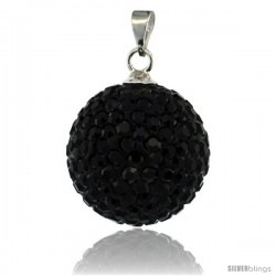 Sterling Silver 16 mm Black Crystal Disco Ball Pendant