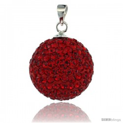 Sterling Silver 16 mm Red Crystal Disco Ball Pendant