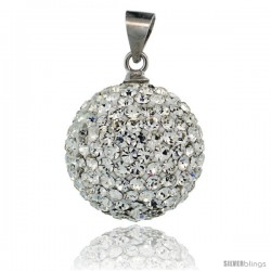 Sterling Silver 16 mm White Crystal Disco Ball Pendant