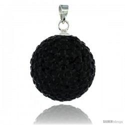 Sterling Silver 18 mm Black Crystal Disco Ball Pendant