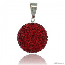 Sterling Silver 18 mm Red Crystal Disco Ball Pendant