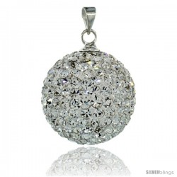 Sterling Silver 18 mm White Crystal Disco Ball Pendant