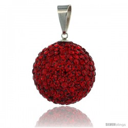 Sterling Silver 20 mm Red Crystal Disco Ball Pendant