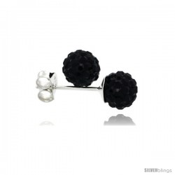 Sterling Silver Black Crystal Ball Stud Earrings 6mm