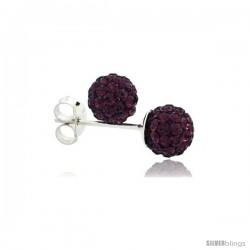 Sterling Silver Amethyst Crystal Ball Stud Earrings 6mm