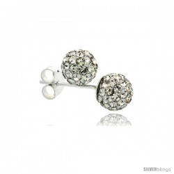 Sterling Silver White Crystal Ball Stud Earrings 6mm