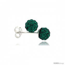 Sterling Silver Emerald Crystal Ball Stud Earrings 6mm