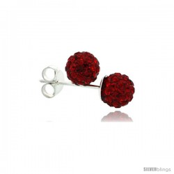 Sterling Silver Ruby Crystal Ball Stud Earrings 6mm