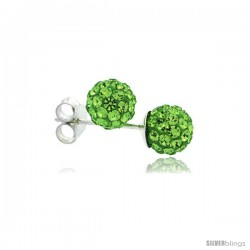 Sterling Silver Peridot Crystal Ball Stud Earrings 6mm