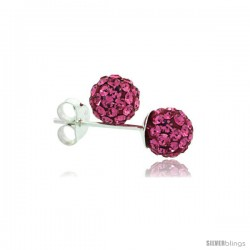Sterling Silver Pink Tourmaline Crystal Ball Stud Earrings 6mm